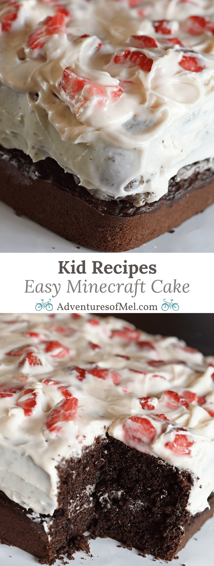 Hosting a Minecraft party? Celebrating a Minecraft birthday? How to make an easy Minecraft cake with a simple cake mix recipe that doubles as a fun kid recipe. Add in Oreos, cream cheese, and strawberries. But be warned! It's such a scrumptious cake, it will vanish into thin air!