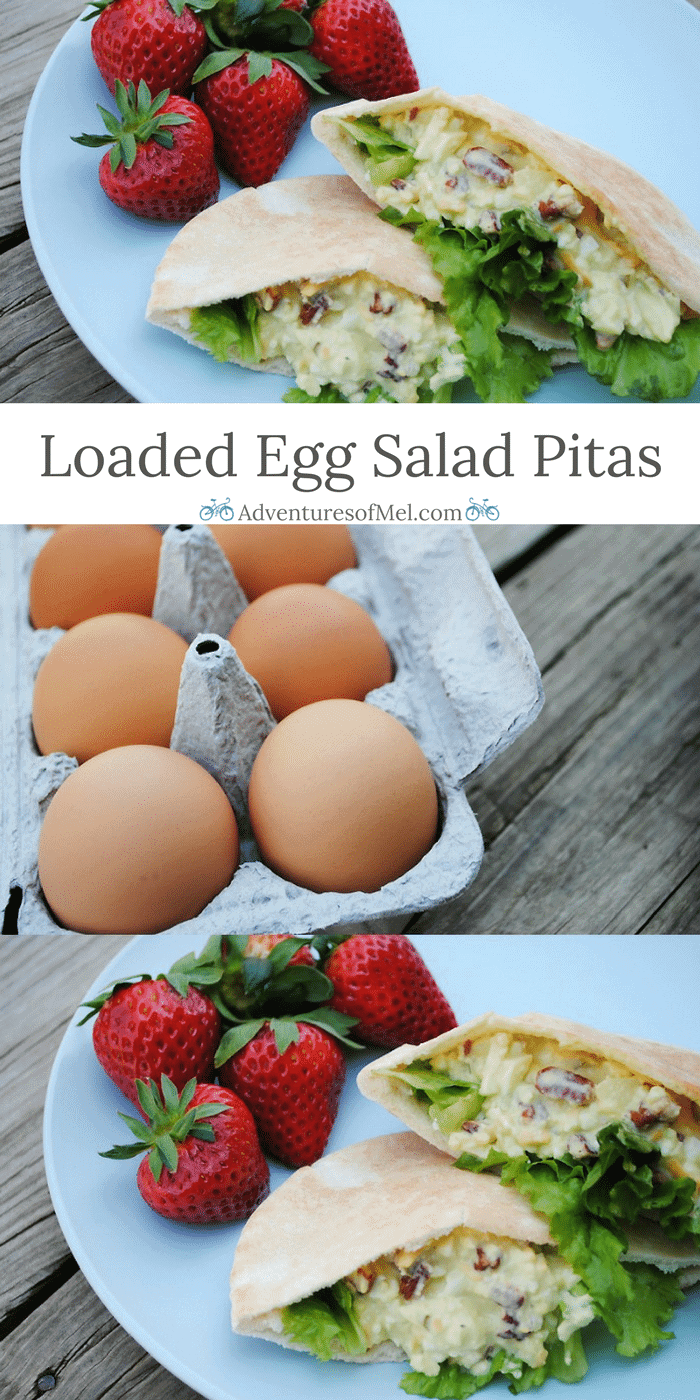 Got leftovers? Maybe you have a few leftover hard boiled eggs sitting in your fridge. Use them to make Loaded Egg Salad Pitas, a delicious picnic food and pure perfection in your lunch box. Grab the recipe for Loaded Egg Salad Pitas!