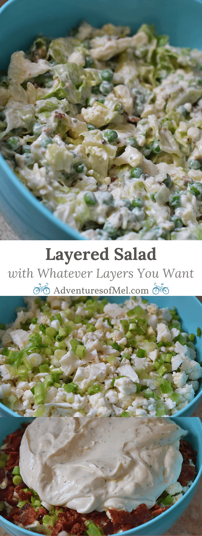 Layered Salad is the perfect salad recipe for family get-togethers, parties, or your next BBQ. You can add whatever types of layers you want, including cauliflower, peas, lettuce, bacon, or whatever else your heart desires.