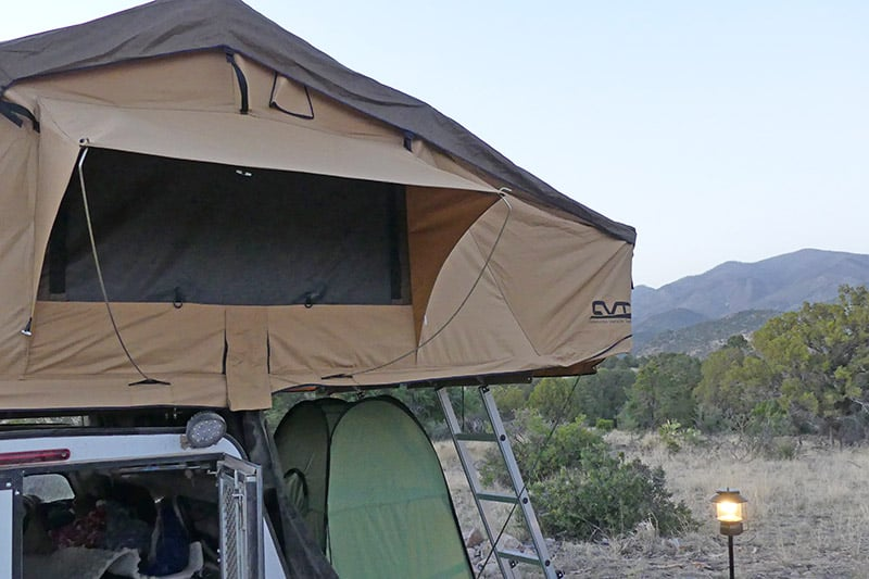 dispersed camping in a rooftop tent in mountains of New Mexico