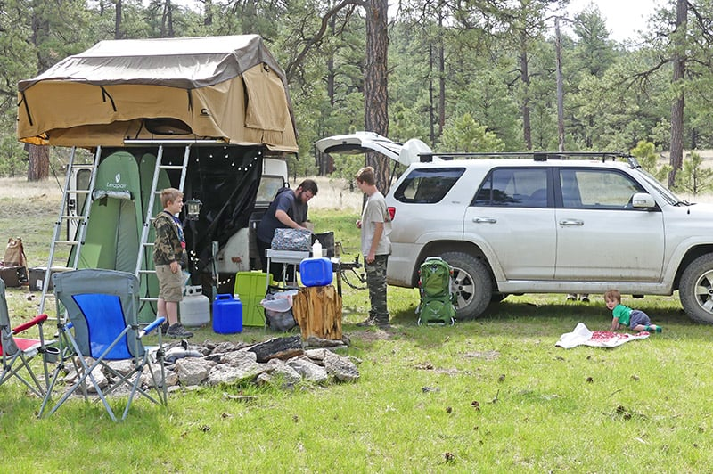 camping tips and free camping in the Gila National Forest in New Mexico with a rooftop tent and camp trailer