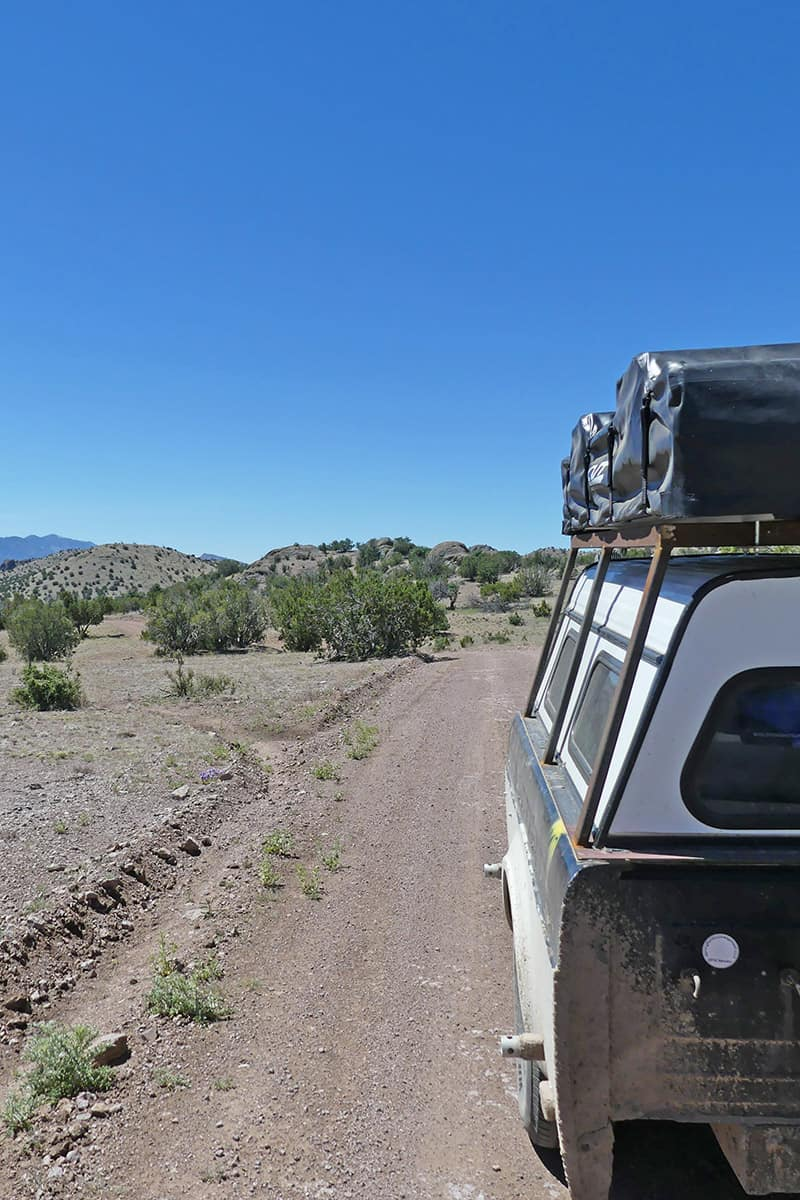 primitive camping in the cibola national forest in new mexico with camp trailer and CVT rooftop tent
