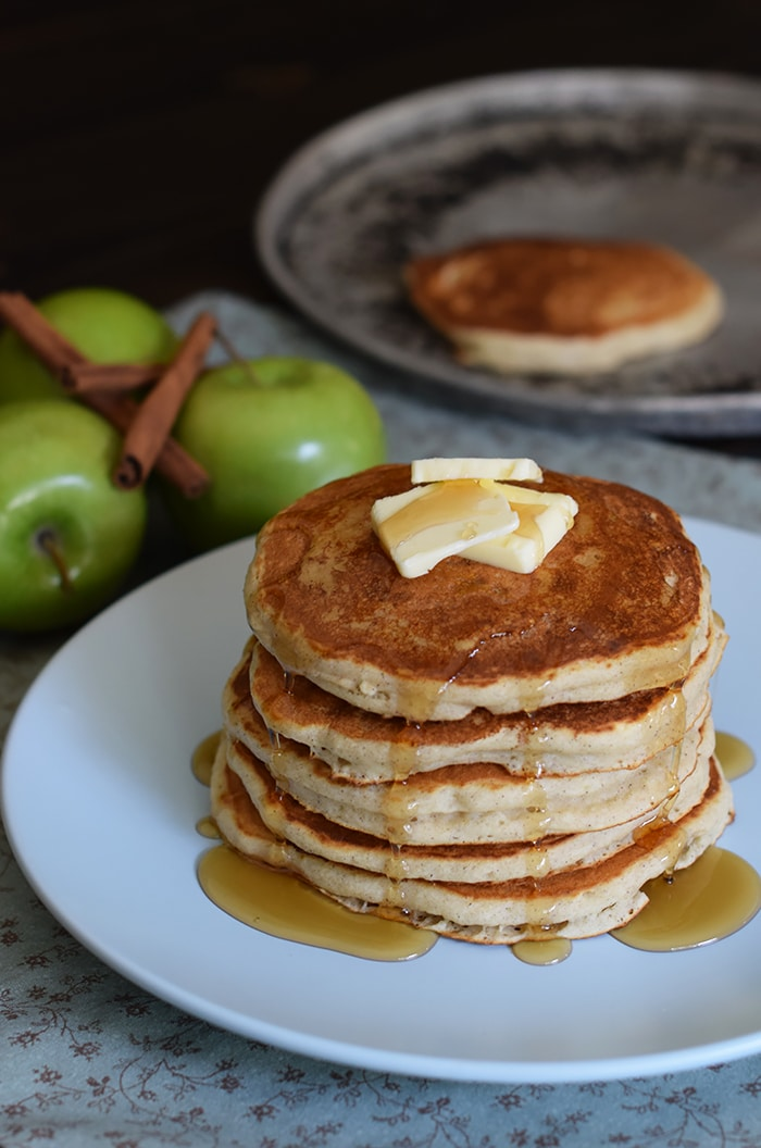 Breakfast is served with fluffy Apple Cinnamon Buttermilk Pancakes, made with applesauce and a dash of cinnamon. Serve with butter and warm maple syrup. They're so scrumptiously delicious!