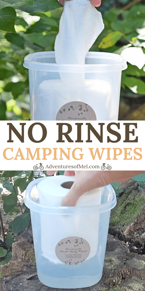 Homemade no rinse body wipes are great for camping and spending time in the great outdoors. How to make your own using water, body wash, and essential oils.