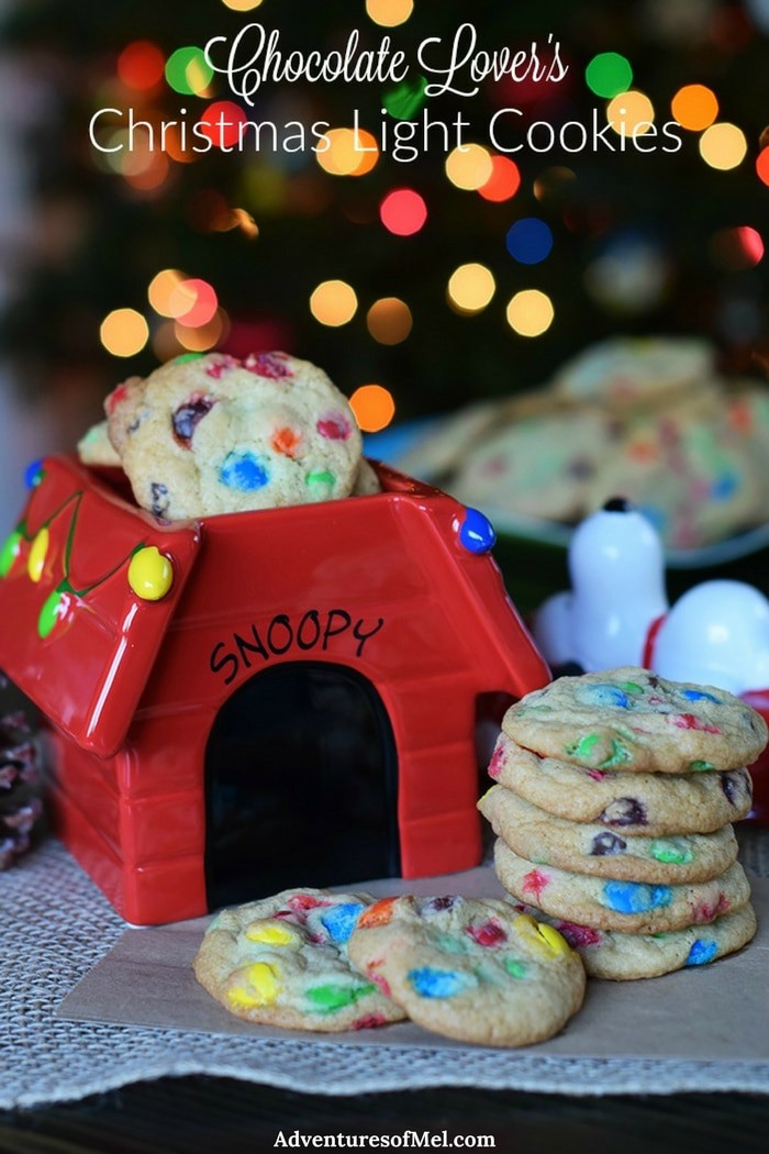 Chocolate Lover's Christmas Light Cookies, with loads of chocolate candy for a scrumptious holiday dessert. Grab the printable sweet treat recipe for these festive Christmas cookies!