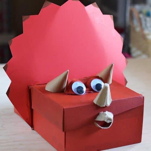 dinosaur Valentine box shoebox craft for kids