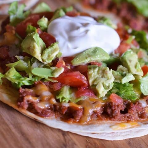Homemade Mexican Pizza with All the Fixin's