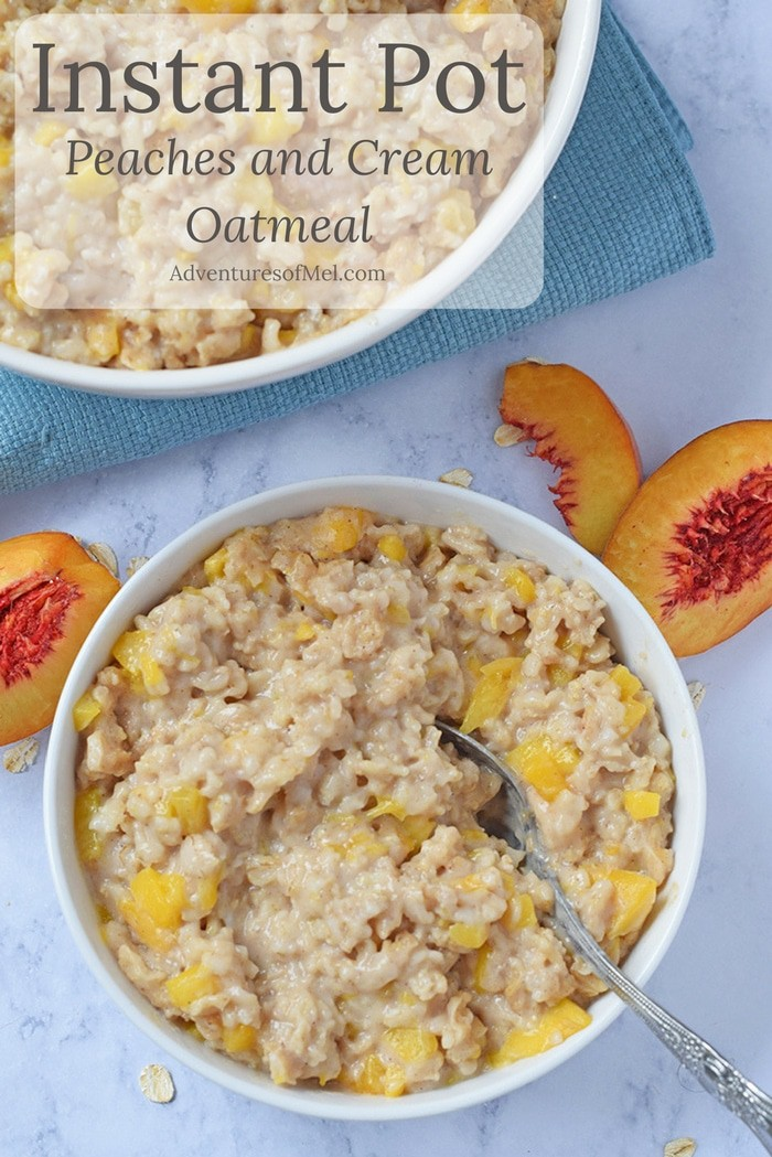 Make mornings easier with Instant Pot Peaches and Cream Oatmeal, an easy weekday breakfast recipe. Throw ingredients together, pop on the lid, and it practically makes itself.