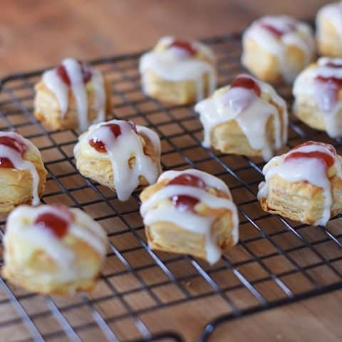 Satisfy your sweet tooth with Easy Strawberry Cheese Danish Pastry Bites. Made with bite-sized Puff Pastry Cups, they're so easy to make and so delightfully scrumptious, allowing for moderation, as well!
