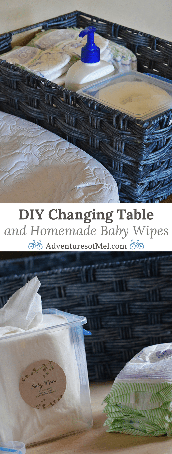 How to create a DIY changing table from a dresser and make your own homemade baby wipes, along with a few tips for adding joy to spring cleaning and organizing your home, whether in the baby's room or elsewhere.