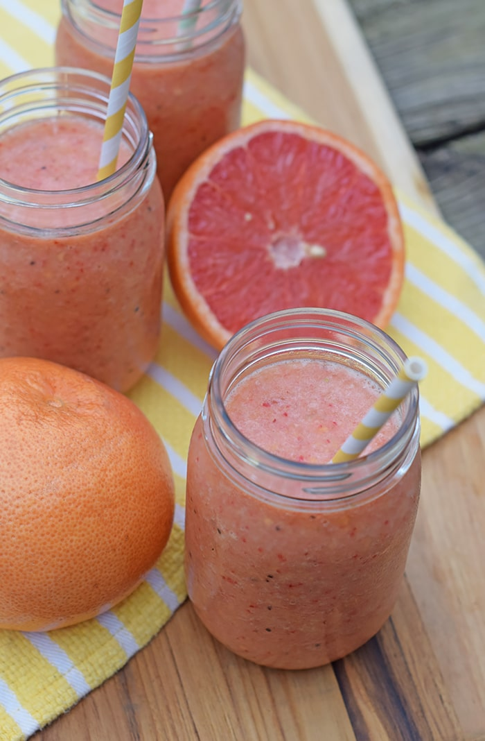 How to make a simple, easy, natural fruit smoothie, no sugar added. All you need is fruit and ice for a refreshing Grapefruit, Berry, and Tropical Fruit Smoothie. Printable recipe!