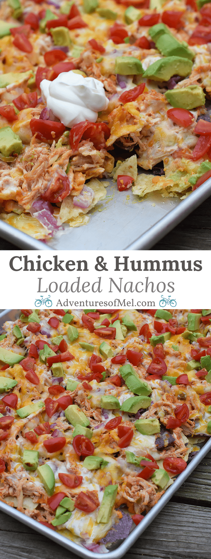 Hungry for loaded nachos and Tex-Mex but don't feel like going out? Make the most flavorful loaded nachos with chicken and roasted red pepper hummus, along with other favorite ingredients like cheese, tomatoes, avocado, and more. Chicken and Hummus Loaded Nachos in a Sheet Pan Recipe!