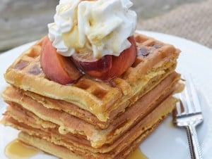 Homemade Peaches and Cream Waffles Recipe