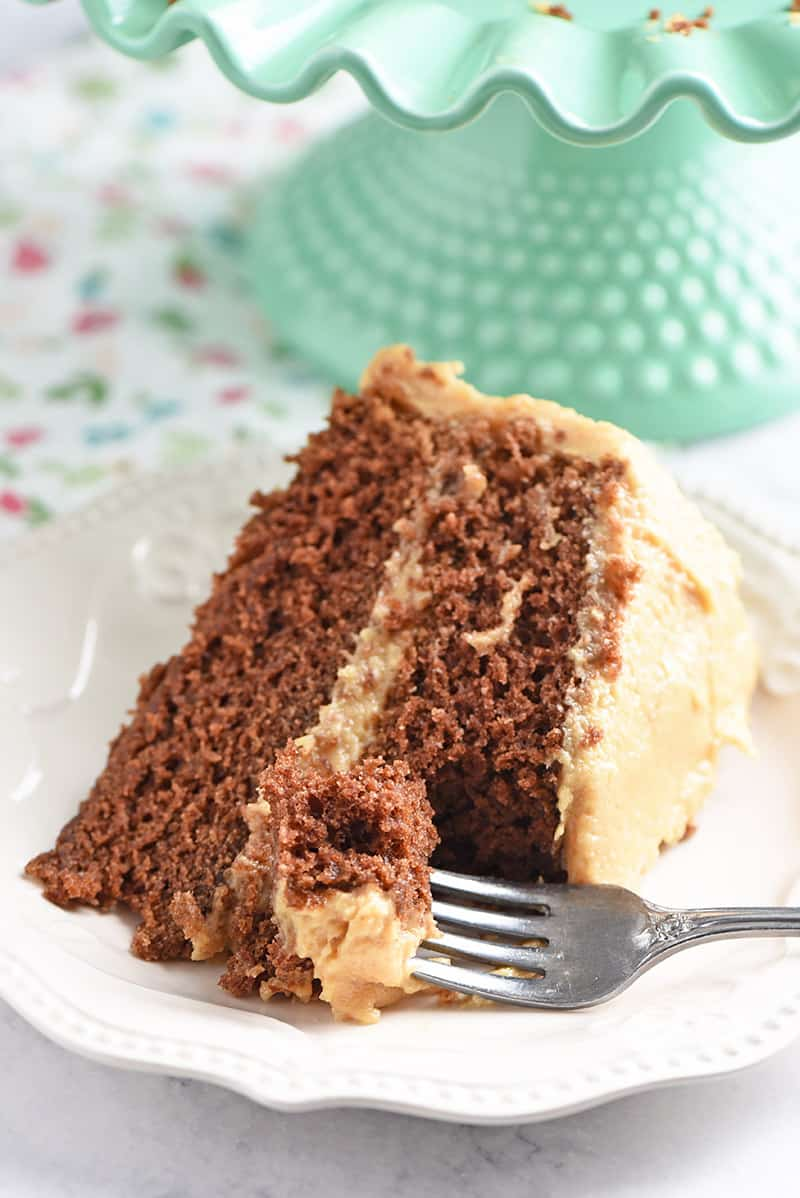 Slice of peanut butter chocolate cake layered together with peanut butter frosting