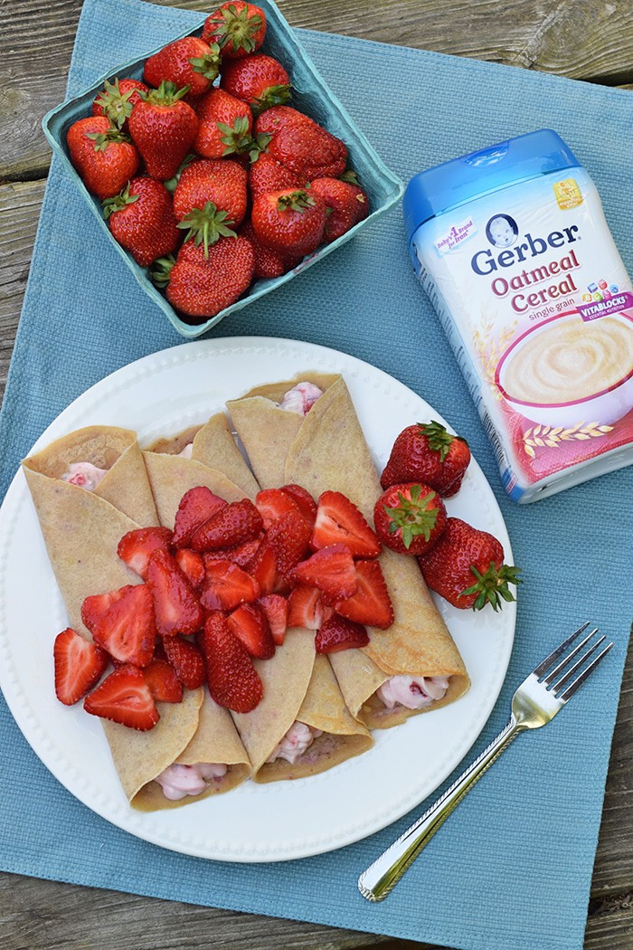 Homemade Sweet and Savory Strawberries and Cream Oatmeal Crepes, made with Gerber Oatmeal, are so simple and easy to make, scrumptious too! Print the recipe for this breakfast and brunch favorite.