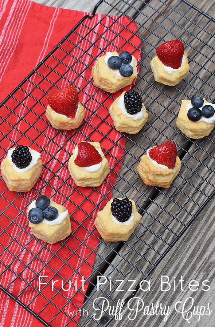 Fruit Pizza is one of my family's favorite desserts. Fruit Pizza Bites, made with strawberries, blueberries, and blackberries, is a spin-off made with Puff Pastry Cups, and it's so kid-friendly to make, perfect for summer. Grab the printable recipe!