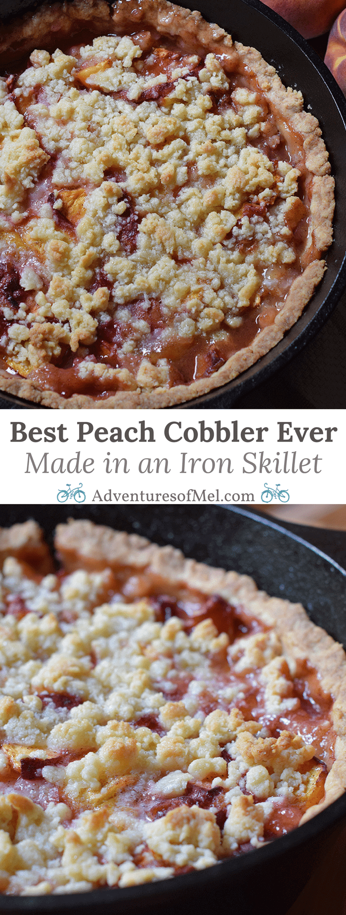 Peach cobbler is probably the easiest dessert recipe you could ever make, besides chocolate chip cookies. Ingredients are simple, and the crust is a press-in crust, my favorite type of pie crust! Grab the recipe, bake it up in your favorite cast iron skillet (or baking dish), serve with vanilla ice cream, and watch it disappear.