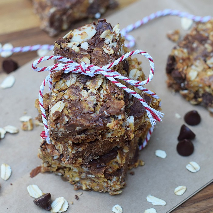Healthy doesn't equal expensive or difficult. No-Bake Nut Butter and Chocolate Granola Bars are healthy snacks, filled with ingredients you may already have in your kitchen. Grab the easy recipe for these scrumptious treats!