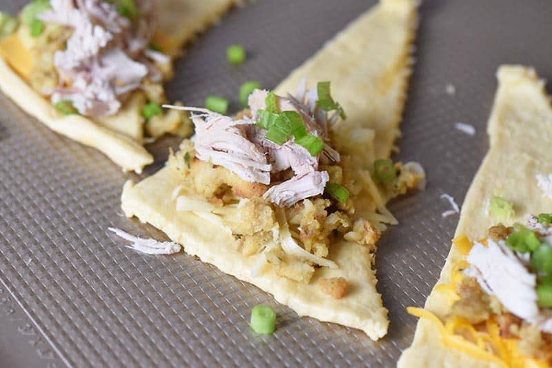 leftover turkey stuffing crescent roll appetizers with Pepper Jack cheese
