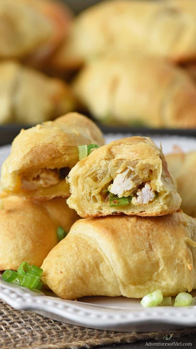 crescent rolls stuffed with leftover turkey, stuffing, cheese, and green onions