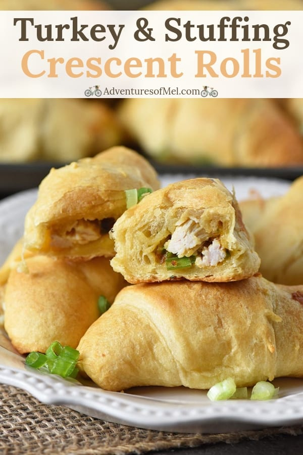 crescent roll recipe with leftover turkey, stuffing, and cheese