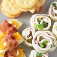 easy appetizer recipes, finger foods, and party food, including pinwheels, bacon wrapped apples, and cheese, and cheese and crackers