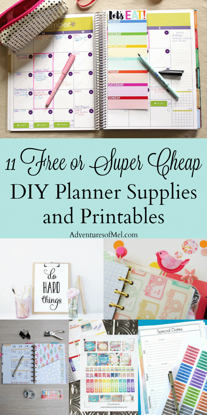 11 free or super cheap diy planner supplies and printables for Happy planner ideas