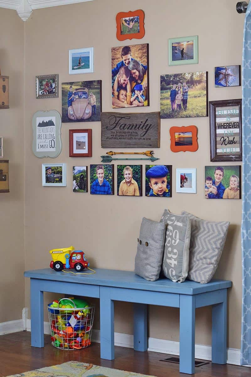 gallery wall with DIY photo canvas prints, printables, and other home decor