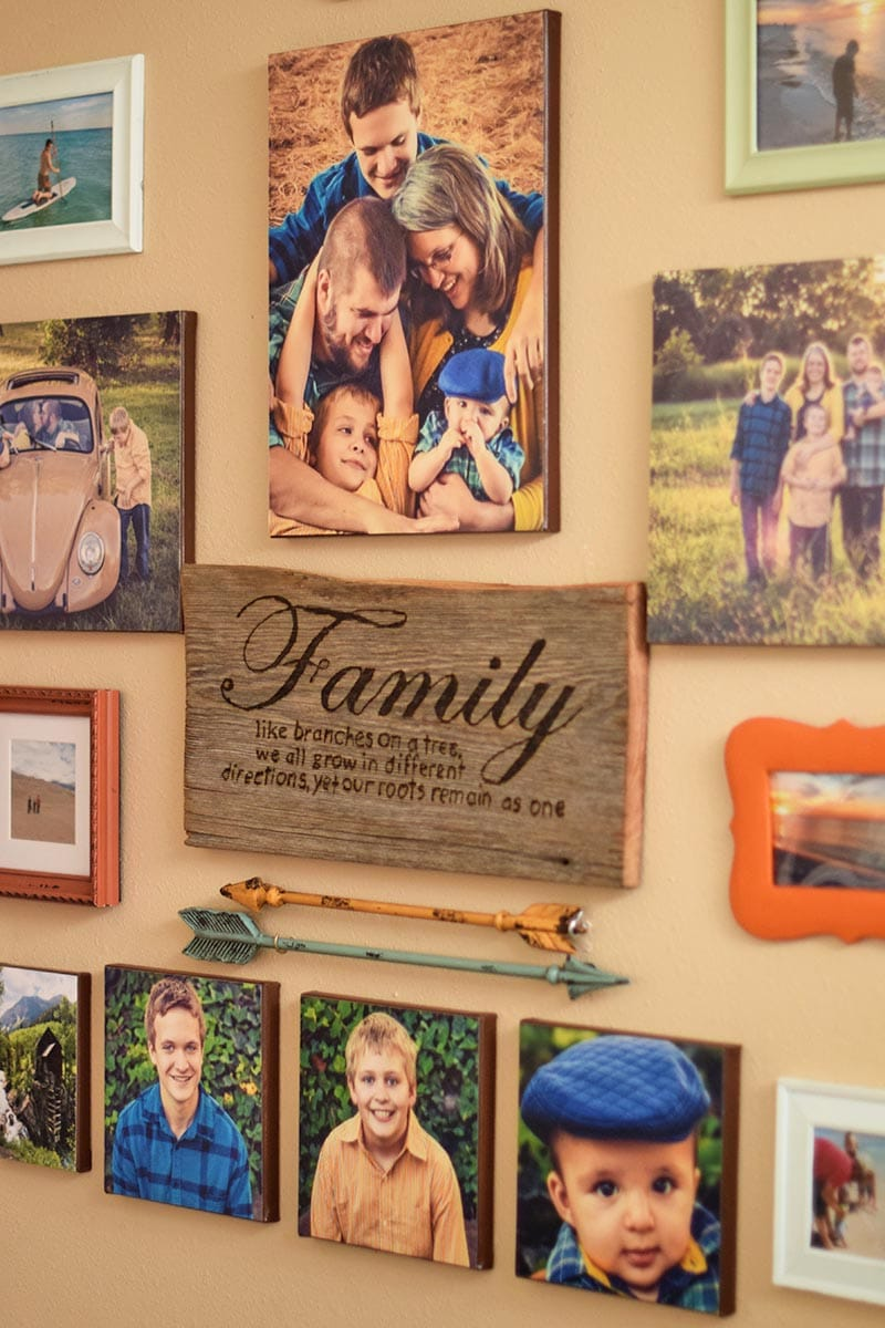 family pictures gallery wall with DIY canvas print