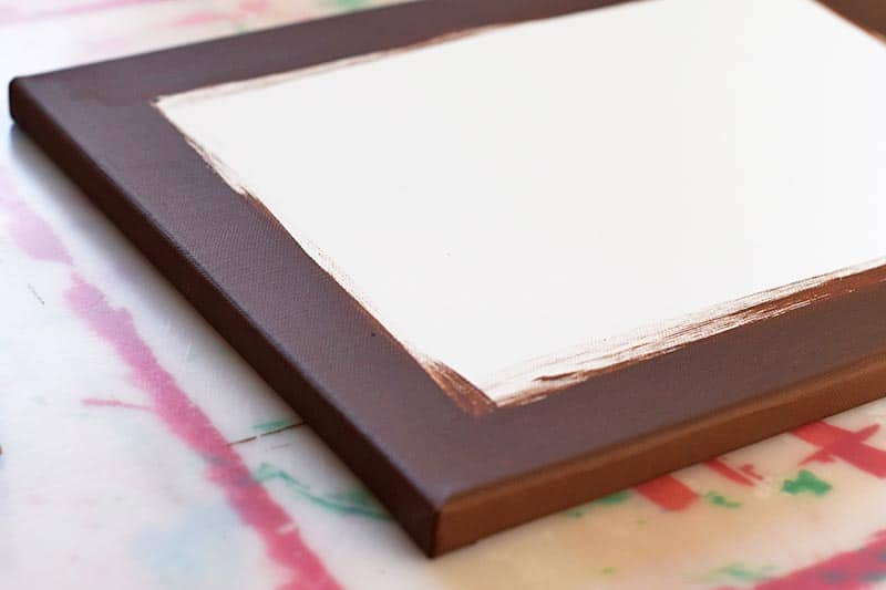 painting the edges of a canvas for a DIY canvas print