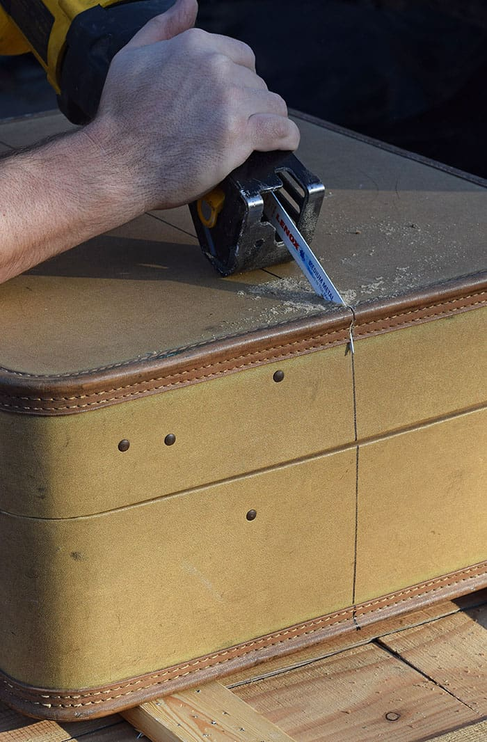 Got an old suitcase just waiting to be used for something special? How to build suitcase shelves, step by step, and hang them up for a vintage decorative look in your home's living space. Vintage home decor DIY project!