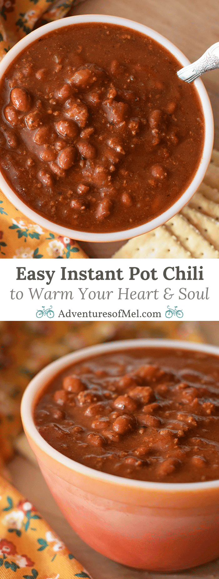 Chilly nights call for a nice hot bowl of homemade chili to warm your heart and soul. Print an easy Instant Pot chili recipe! Best served with cornbread and a dollop of sour cream.