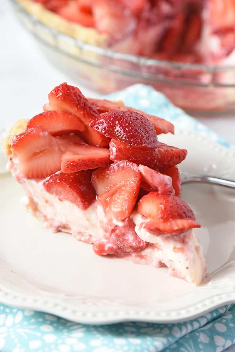 slice of easy strawberry cream pie on white Pioneer Woman plate