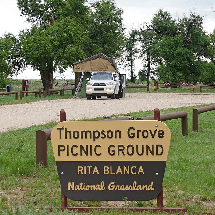 The Rita Blanca National Grassland is a quiet place to stop and camp overnight on a road trip to Colorado or New Mexico. Off the beaten path, roadside camping is allowed at the Thompson Grove Picnic Ground near Dalhart, Texas. The grassland stretches on for miles. On a sunny day, the sky is the bluest blue you can ever imagine. And it's hard to describe the stars on a cloudless night. We've camped here a couple times, this last time a bit stormy and cloudy but no less beautiful.