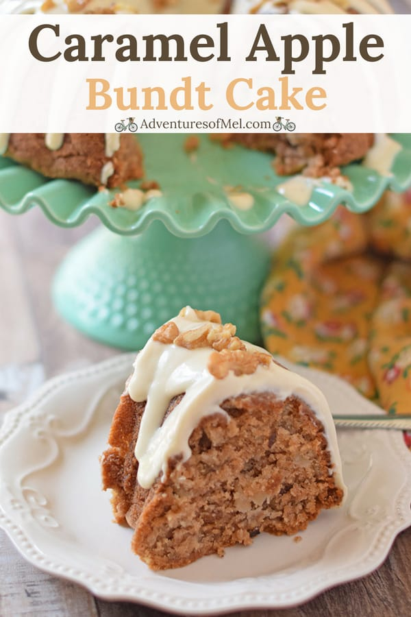 slice of homemade apple bundt cake with caramel cream cheese icing