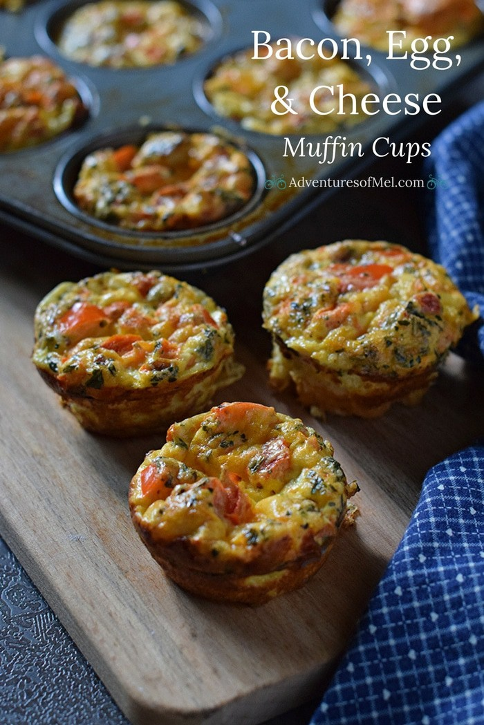 Bacon, Egg, and Cheese Breakfast Muffin Cups with bacon, cheese, peppers, tomatoes, and basil. Simple, easy, make ahead, low carb breakfast idea!