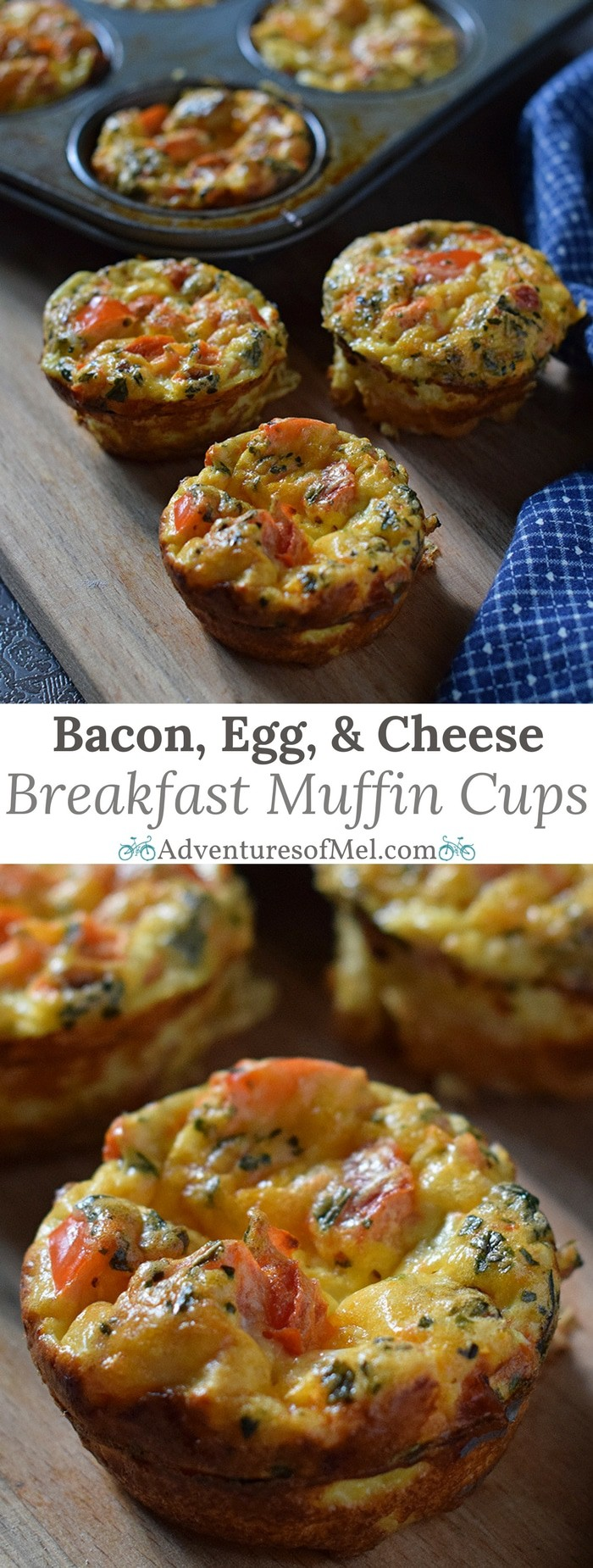 Bacon, Egg, and Cheese Breakfast Muffin Cups with eggs, bacon, cheese, peppers, tomatoes, and basil. Easy, make ahead, low carb breakfast idea!
