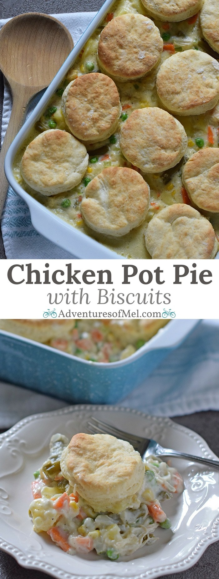 One of my favorite dinner recipes! Chicken Pot Pie with Grandma's biscuits, filled with a medley of vegetables in a mouthwatering creamy sauce, seasoned with sage. Ultimate comfort food dinner recipe.