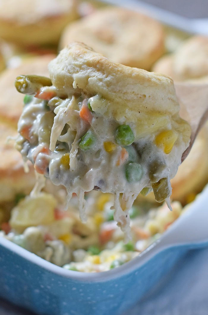 Chicken Pot Pie with biscuits, filled with a medley of vegetables in a flavorful sauce, seasoned with sage, salt, and pepper. It's one of my favorite comfort foods and makes a great family dinner!