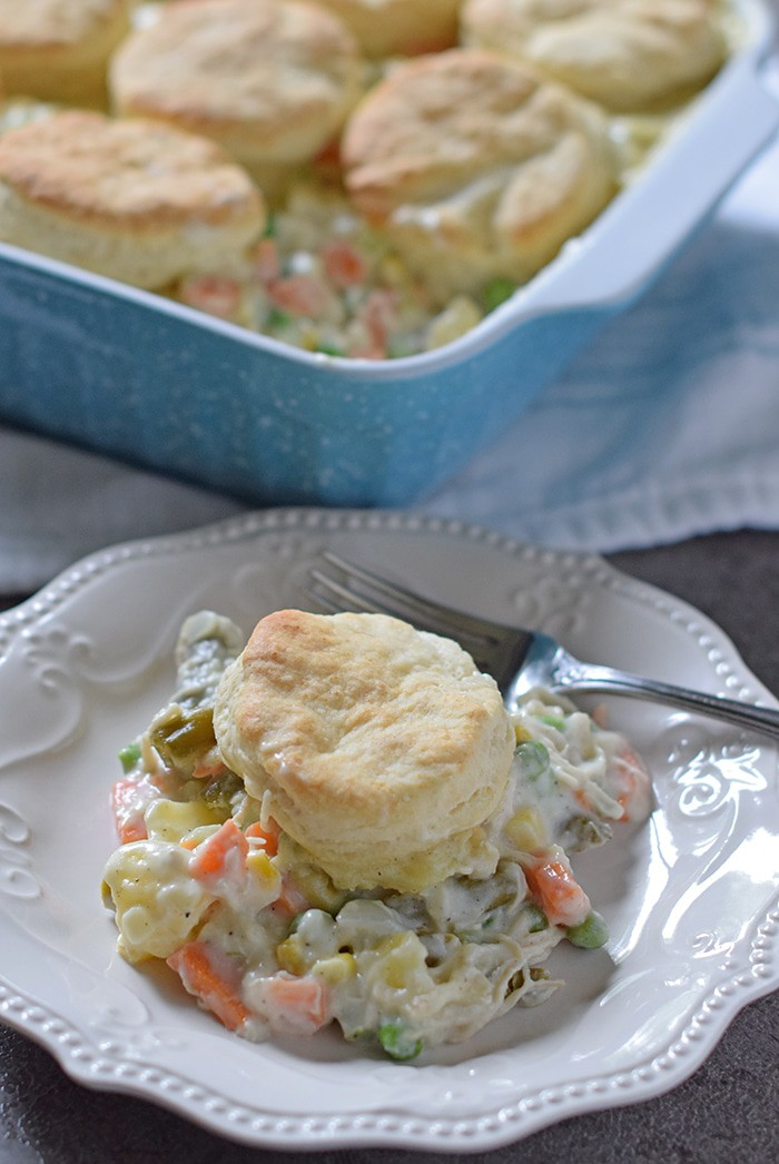 Make Chicken Pot Pie with Biscuits for your family tonight. Full of vegetables, a creamy sauce, and Grandma's biscuits on top.