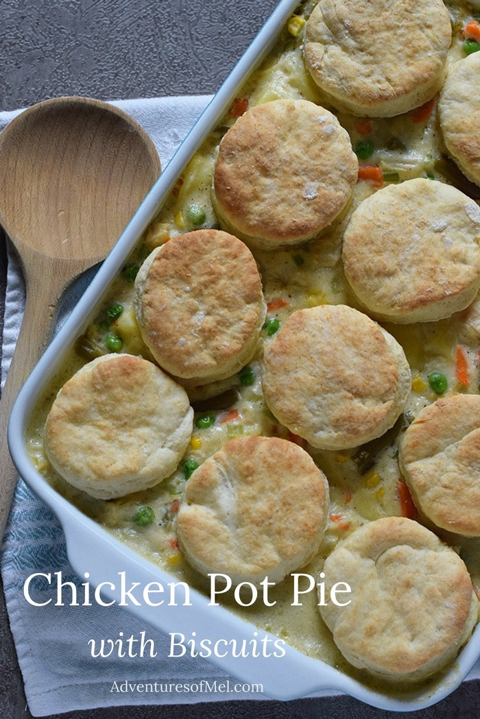 Make Chicken Pot Pie with Biscuits for dinner. Easy meal loaded with vegetables in a creamy sauce. Kid-friendly dinner recipe.