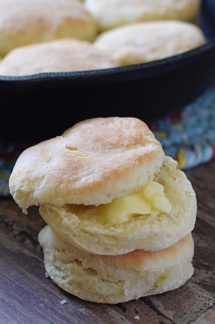 Make easy homemade biscuits from scratch and serve with butter, jam, honey, or whatever you desire. So good!