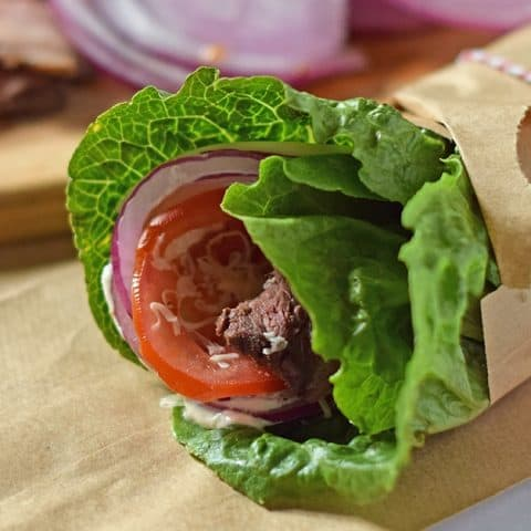 Low Carb Roast Beef Lettuce Wraps are a copycat recipe inspired by a Jimmy John's favorite, the Unwich. Only a few ingredients and 10 minutes to make!