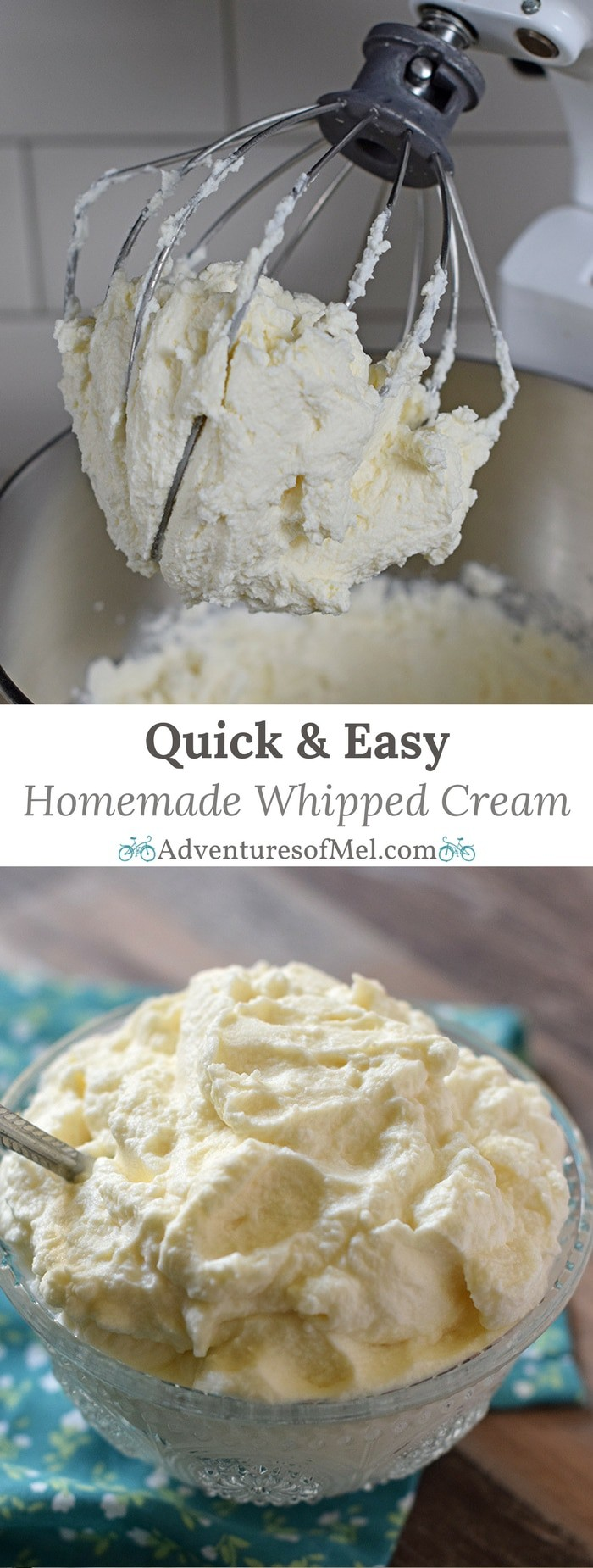 Make homemade whipped cream in 5 minutes with this quick and easy recipe. Only 4 ingredients and you have a creamy delicious topping for all your favorite desserts.