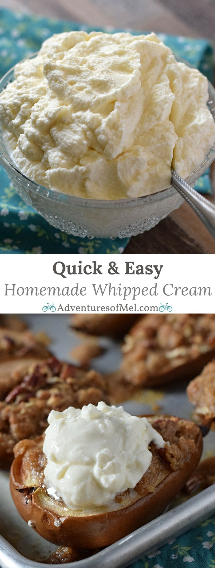 Homemade whipped cream can be made in 5 minutes with this easy recipe. Only 4 ingredients, including a secret ingredient, to a creamy delicious topping for all your favorite desserts.