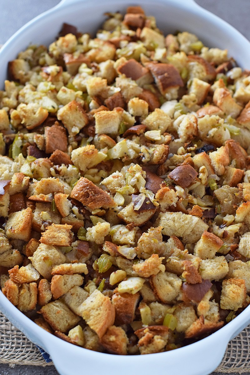 Easy recipe for Apple Walnut Bread Stuffing, classic, delicious, homemade side dish recipe for your Thanksgiving table.