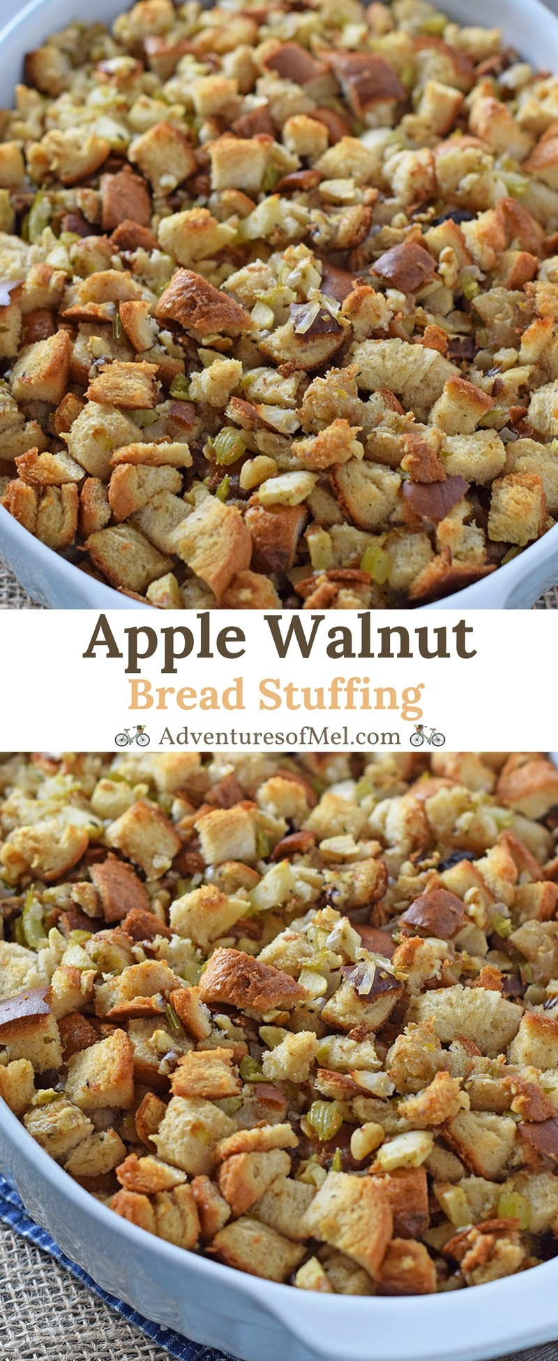 Apple Walnut Bread Stuffing, an easy, traditional, old-fashioned, homemade recipe. Simple ingredients in a delicious Thanksgiving side everyone will love!
