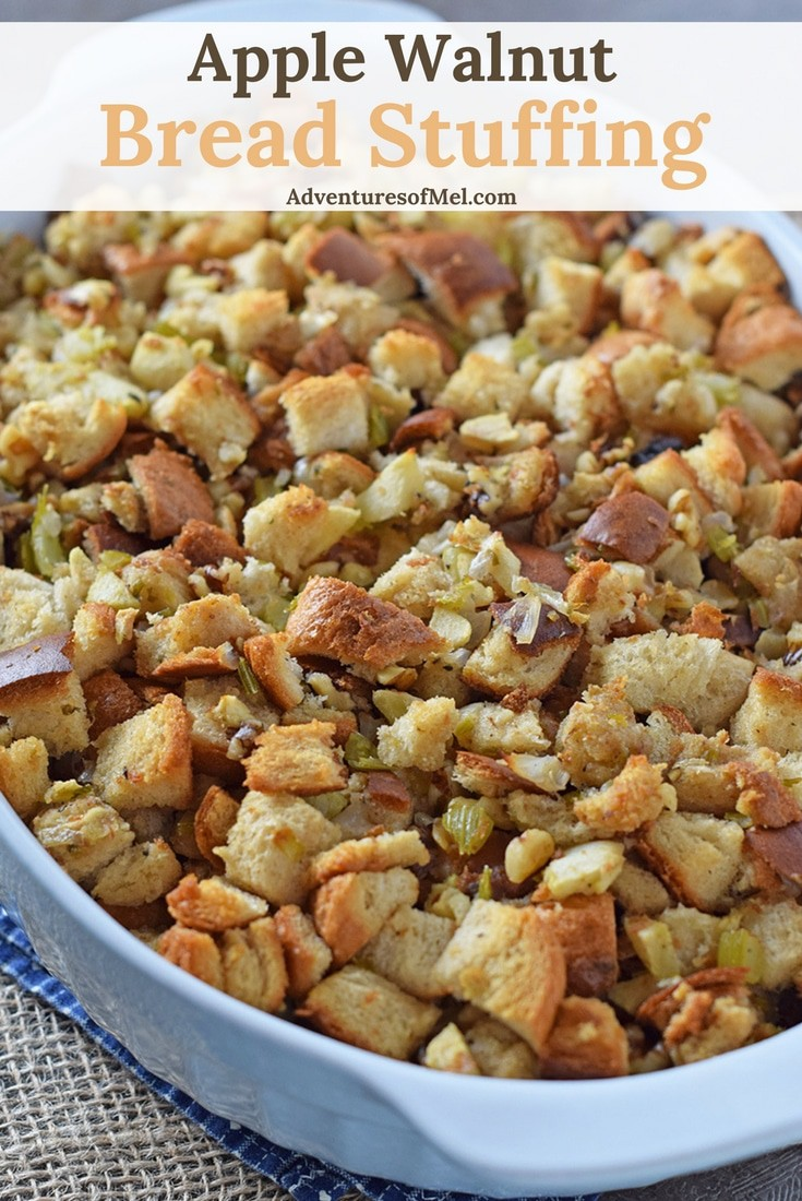 Classic Thanksgiving side dish recipe, Apple Walnut Bread Stuffing. So delicious and easy to make. So not as complicated as I thought!