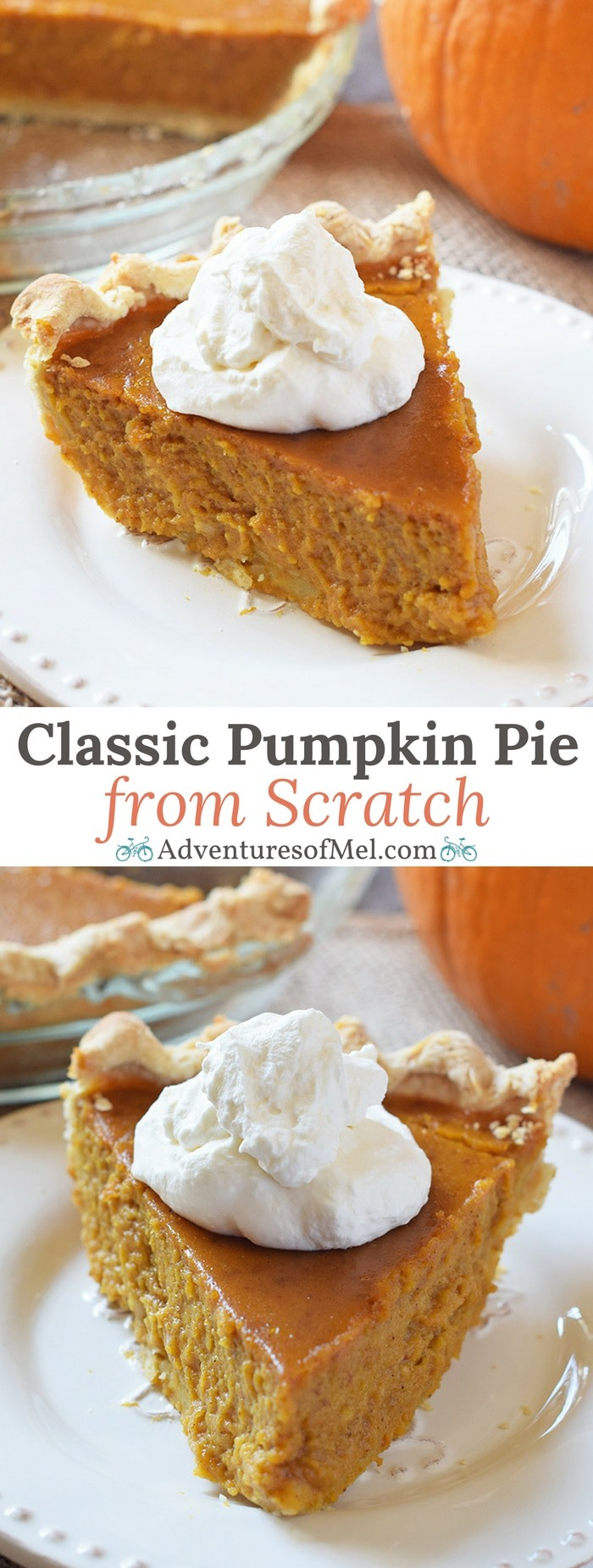 Classic Pumpkin Pie, straight from Grandma's recipe box. The best ever traditional pumpkin pie recipe that's perfect for the holiday dessert table!