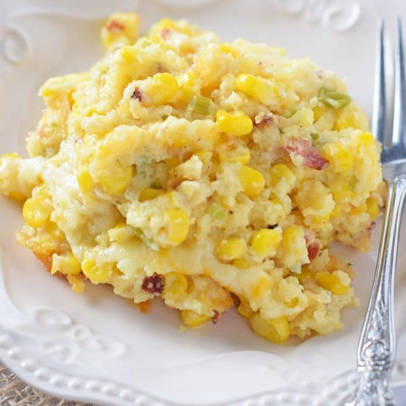 Creamy Bacon Corn Casserole, made with JIFFY Corn Muffin Mix and cream cheese. One of our family's favorite Thanksgiving side dish recipes.